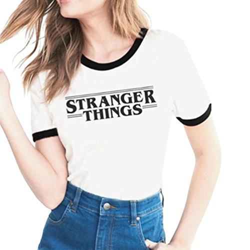 Yuanu Damen Bequem Atmungsaktiv Kurzarm Rundhals Tops Liebhaber Großformat Lässiges T-Shirt Mit Stranger Things Thema Drucken