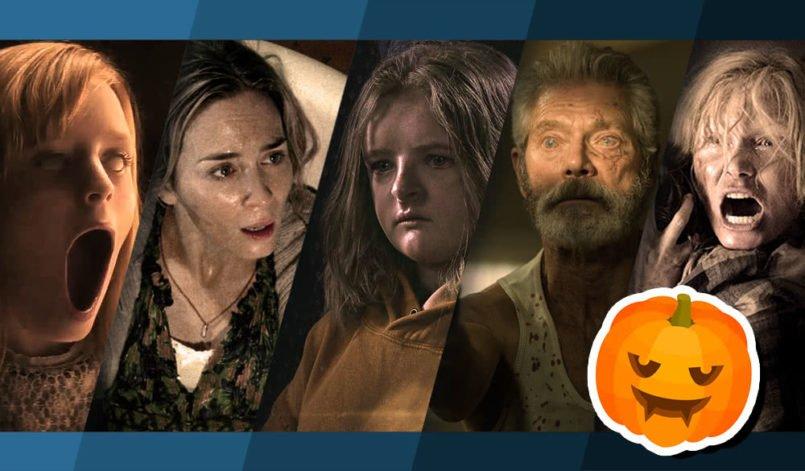 Collage von Bildern der Filme Ouija: Ursprung des Bösen, A Quiet Place, Hereditary, Don't Breathe, Der Babadook