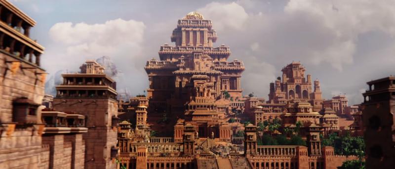 EIne Panoramaaufnahme von dem Königreich Mahishmati in Bahubali: The Beginning