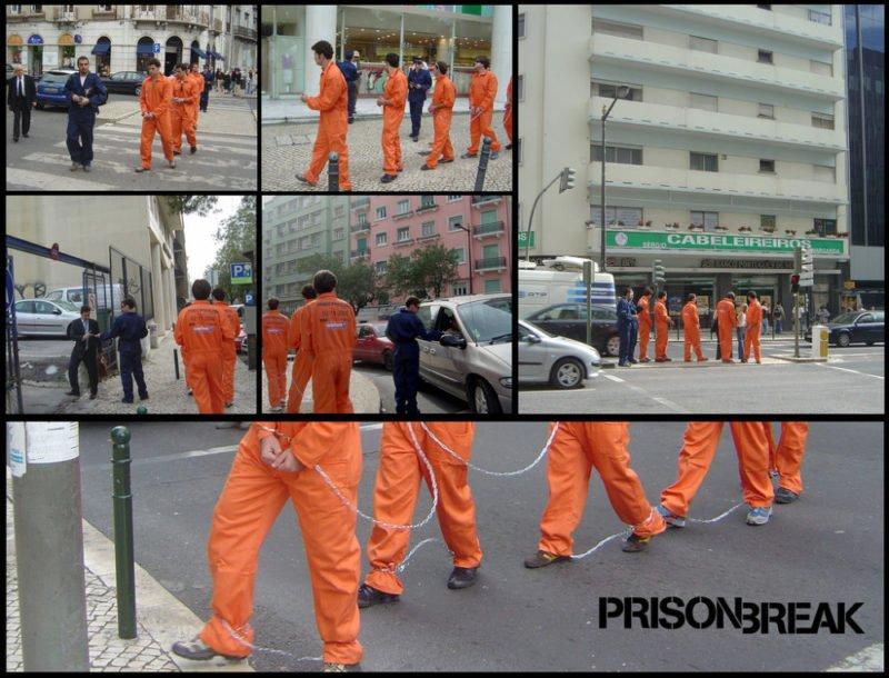Verkleidete Sträflinge für eine Werbekampagne von Prison Break in Lissabon