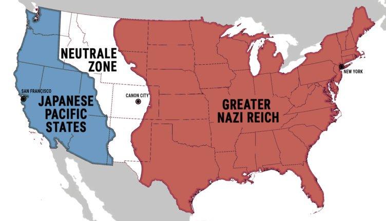 Eine Karte der besetzten USA zeigt das Herschaftsgebiet des Greater Nazi Reich von Ostküste bis Rocky Mountains und das der Japanese Pacific States an der Westküste. Der Streifen dazwischen ist die Neutrale Zone in der Serie The Man in the High Castle - Staffel 1