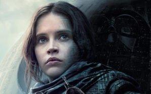 Fotocollage: Jyn Erso schaut in die Ferne hinter ihr schwebt bedrohlich der Todesstern mit der Maske von Darth Vader