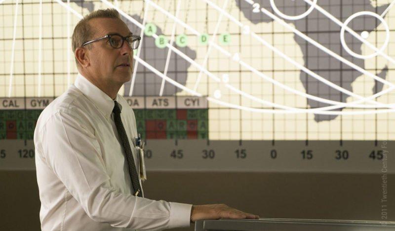 Kevin Costner schaut als Al Harrison besorgt auf die Kontrollschirme der NASA Einsatzzentrale