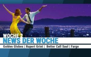 Ryan Gosling und Emma Stone tanzen vor dem nächtlichen Panorama von Los Angeles im Musicalfilm La La Land