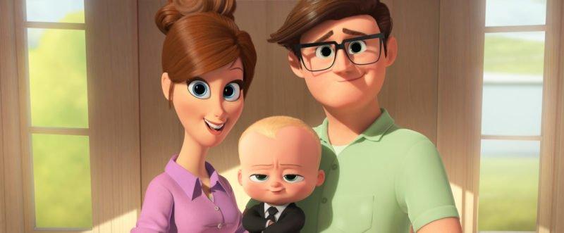 Ein Familienfoto mit Vater und Mutter und dem Boss Baby