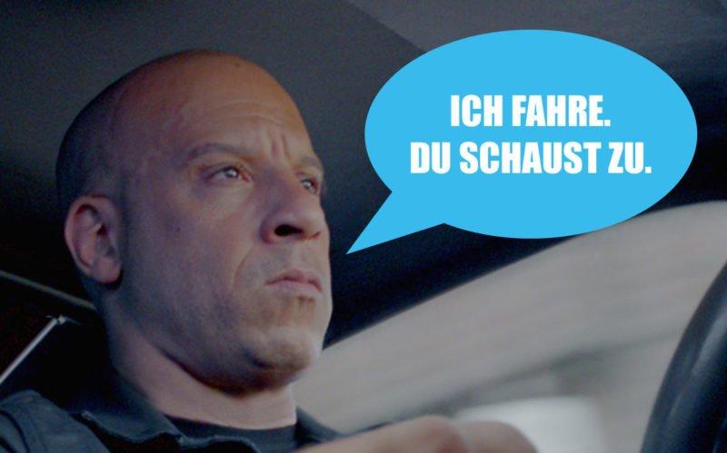 Dom Toretto als Vin Diesel in einem Auto