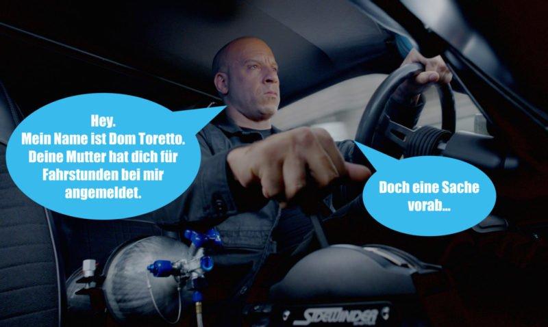 Vin Diesel Dom Toretto sitzt in einem Dodge Charter