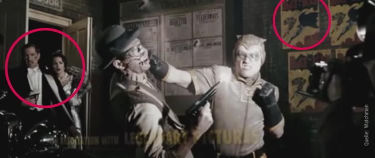 Im Vordergrund verprügelt Nite Owl einen Verbrecher und im Hintergrund stürmt das Ehepaar Wayne aus dem Gotham Opera House