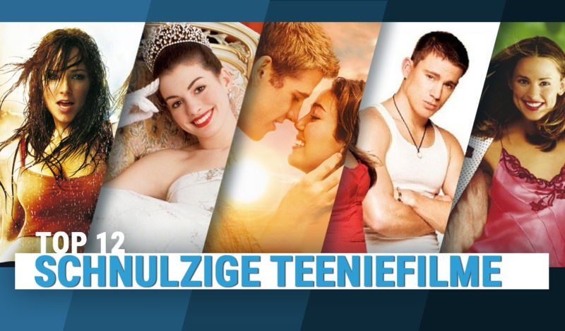 Filmplakate der schnulzigen Teeniefilme Step Up, Plötzlich Prinzessin, 30 über Nacht, She's the man,