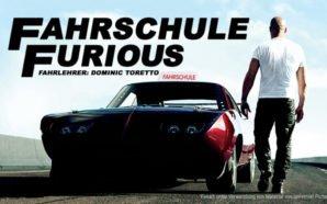 Dominic Toretto geht zu seinem Chevrolet Dodge, der ein Fahrschulschild auf dem Autodach hat