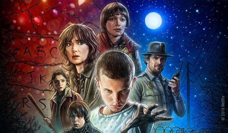 Gezeichnetes Wallpaper zu Stranger Things Staffel 1 mit den Hauptcharakteren