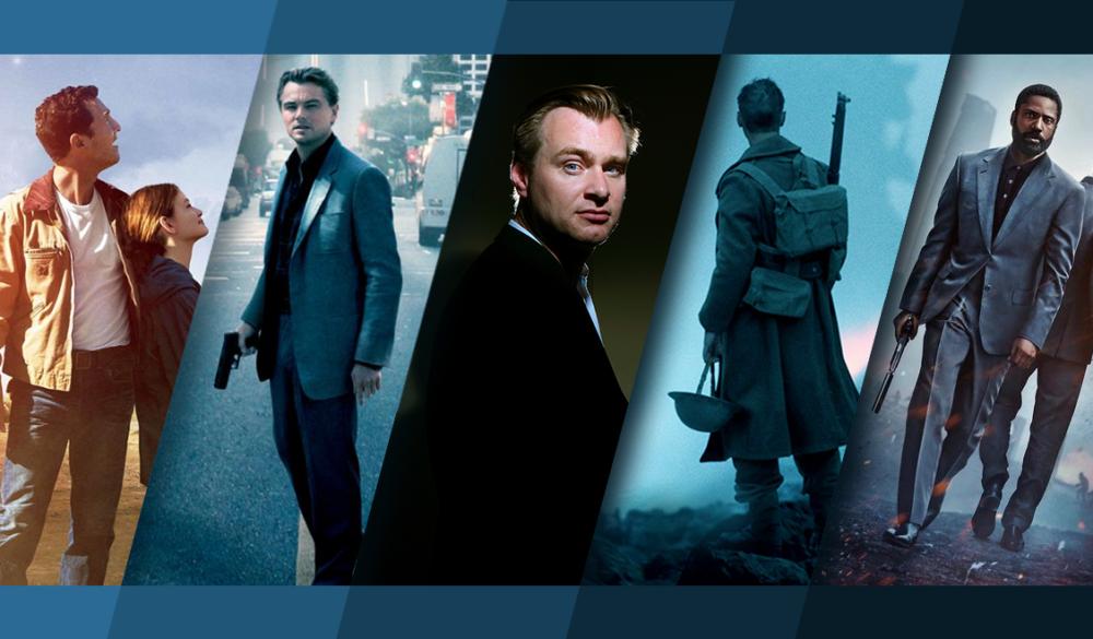 Beitragsbild für Topliste Die besten Christopher Nolan Filme mit Interstellar, Inception, einem Porträt von Christopher Nolan, Dunkirk und Tenet
