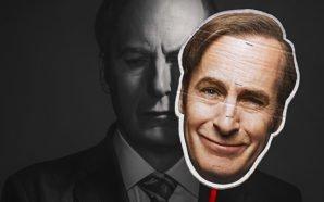 Jimmy Mc Gill verbirgt sein trauriges Gesicht hinter einer lächelnden Pappmaske seines früheren Ichs auf dem Plakat zu Better Call Saul Staffel 4