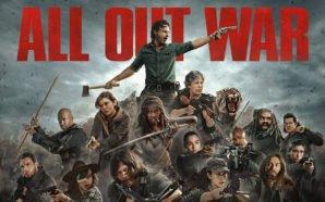 """Rick und seine Verbündeten sind schwer bewaffnet und türmen sich in einer Collage zu The Walking Dead 8 zu einer Art Pyramide über der die Worte """"All Out War"""" prangen"""