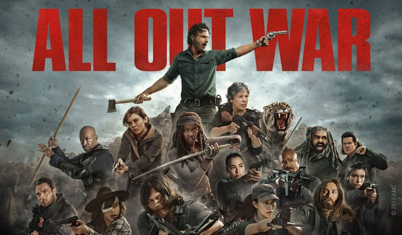 "Rick und seine Verbündeten sind schwer bewaffnet und türmen sich in einer Collage zu The Walking Dead 8 zu einer Art Pyramide über der die Worte ""All Out War"" prangen"