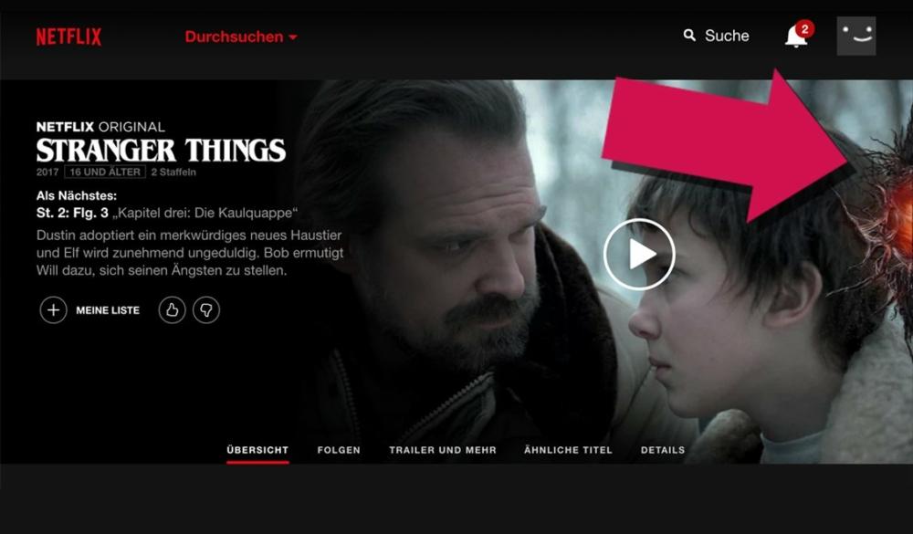 Screenshot der Netflix-Startseite auf der sich am rechten Bildrand das Portal ins Upside Down befindet