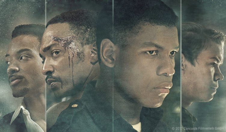 Anthony Mackie, John Boyega, Will Poulter auf dem Hauptplakat von Detroit