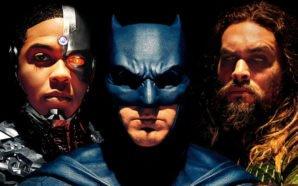 Batman Cyborg und Aquaman auf dem Plakat zu Justice League