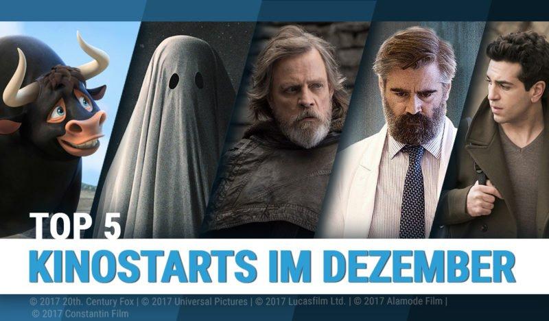 Zusammenstellung von Szenenbildern der Top 5 Kinostarts im Dezember 2017