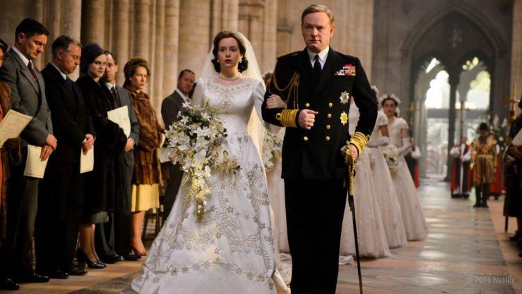 Elizabeth und George bei der Hochzeit in The Crown Staffel 1