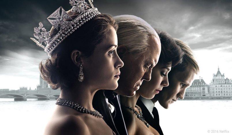 Queen Elizabeth II, Winston Churchill, Prinzessin Margaret und Prinz Philipp in der Historienserie The Crown