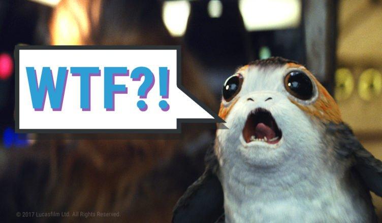 """Titelbild zum Kommentar Warum sind Star Wars Fans immer enttäuscht? mit einem Pork im Millenium Falken, mit einer Sprechblase """"Wtf?!"""""""