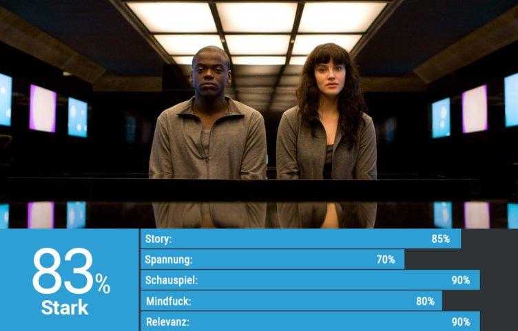 Daniel Kaluuya und Jessica Brown Findlay sitzen in einem dunklen Raum nebeneinander in Black Mirror Staffel 1 Episode Das Leben als Spiel