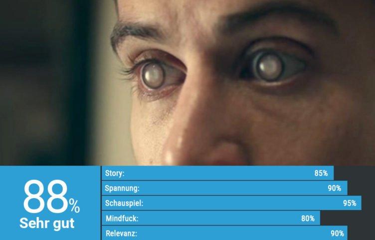 Nahaufnahme von Toby Rebells Augen in Black Mirror Staffel 1 Episode Das transparente Ich