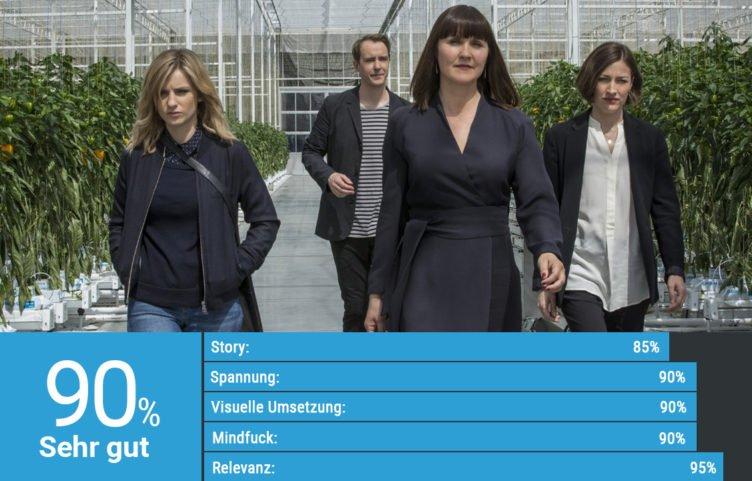 Kelly Macdonald besichtigt die Firmenzentrale in Black Mirror Staffel 3 Epsiode Von allen gehasst