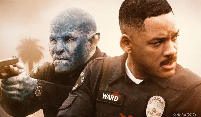 Joel Edgerton als Ork und Will Smith als Polizisten auf einem Poster für Kritik Bright von Netflix