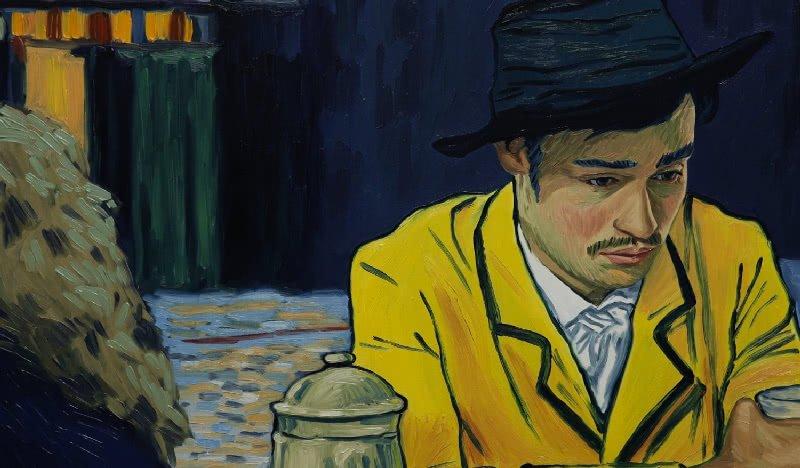 Armand Roulin sitzt einsam an einem Tisch und frägt sich, was zum Selbstmord van Gogh's geführt hat in einem Szenenbild für Kritik Loving Vincent