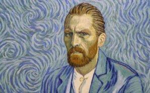 Vincent Van Gogh gemalt in Ölfarben vor einem blauen Hintergrund auf dem Plakat für Loving Vincent