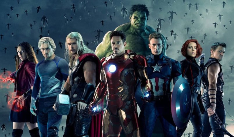 Die Superhelden Thor, Ironman, Captain America, Black Widow, Hawkeye und Hulk auf dem Plakat zu Avengers: Age of Ultron