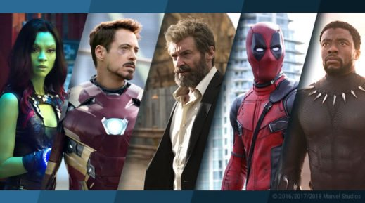 Collage der Marvel-Figuren Gamora, Iron Man, Logan the Wolverine, Deadpool und Black Panther