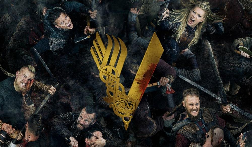 Aufsicht eine Schlachtszene bei denen Darsteller der Serie Vikings ihre Gegner abschlachten