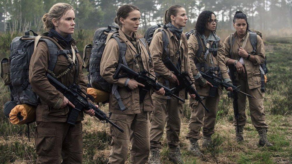 Jennifer Jason Leigh, Natalie Portman, Tuva Novotny, Tessa Thompson und Gina Rodriguez in einem Szenenbild für Kritik Auslöschung