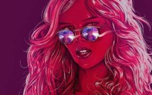 Samara Weaving als Bee trägt eine Sonnenbrille und in der Reflexion sieht man Judah Lewis als Cole auf einem Plakat für Kritik The Babysitter