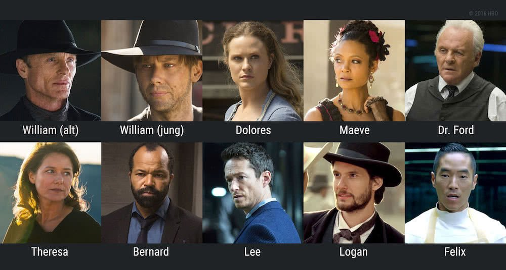 Collage der Hauptfiguren aus Westworld Staffel 1 mit William, Dolores, Maeve, Dr. Ford, Theresa, Bernard, Lee, Logan, Felix