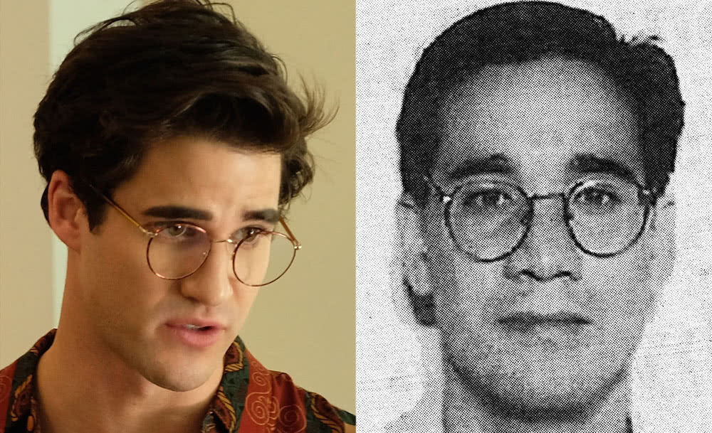 Darren Criss als Andrew Cunanan und ein Passfoto von Andrew Cunanan als Gegenüberstellung für Kritik American Crime Story Staffel 2 The Assassination of Gianni Versace