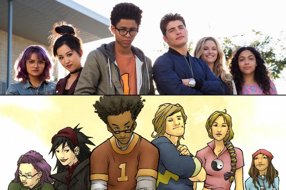 Gert (Ariela Barer), Nico (Lyrica Okano), Alex (Alex Wilder), Chase (Gregg Sulkin), Karolina (Virginia Gardner) und Molly (Allegra Acosta) in einem Szenenbild für Kritik Marvel's Runaways Staffel 1