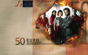 Titelbild für Kritik Haus des Geldes mit einem durchbrennenden 50 Euro Schein, der im Brandloch die Gruppe von Hauptdarstellern zeigt