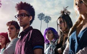 Gert (Ariela Barer), Nico (Lyrica Okano), Alex (Alex Wilder), Chase (Gregg Sulkin), Karolina (Virginia Gardner) und Molly (Allegra Acosta) in einem Titelbild für Kritik Marvel's Runaways Staffel 1