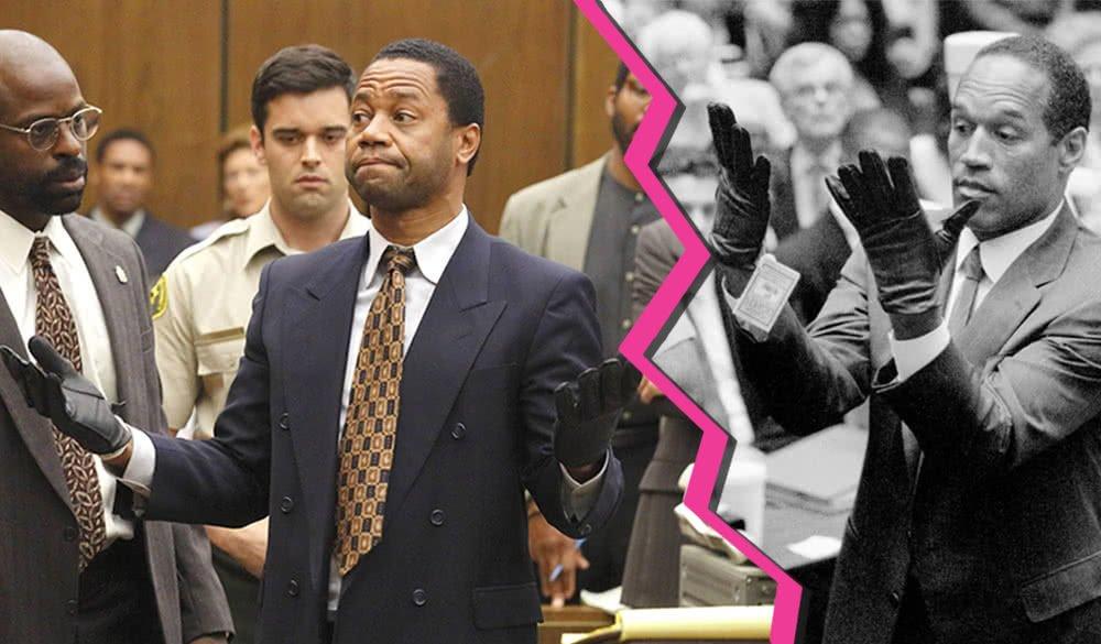 Titelbild für Kommentar Faszination True Crime mit Cuba Gooding Jr. als O.J. Simpson, in einem Gerichtssaal, Handschuhe tragend