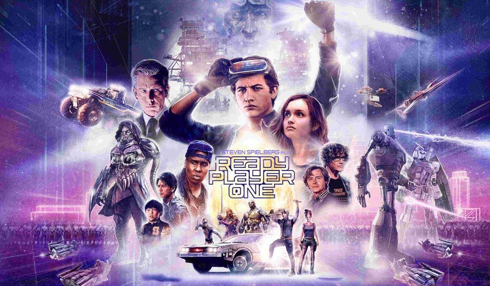 Plakat mit Charakteren aus dem Sci-Fi-Film Ready Player One von Steven Spielberg