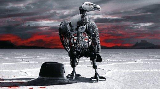 Ein künstlicher Geier steht neben einem blutverschmierten Hut in einer flachen Salzwüste in Westworld Staffel 2