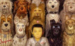 Collage mit Hunden und Atari die in die Kamera schauen auf einem Poster zu Isle of Dogs – Ataris Reise