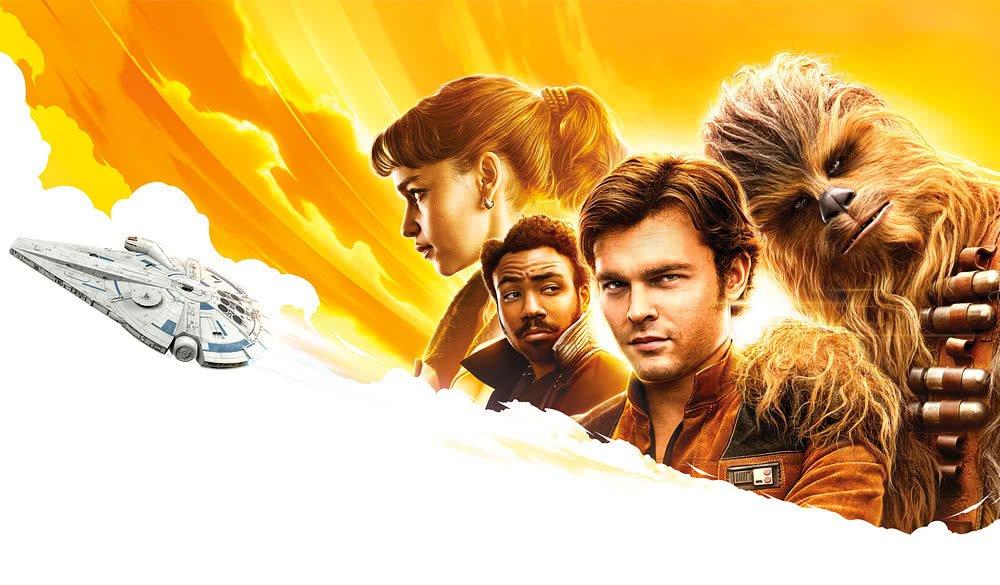 Titelbild für Kritik Solo A Star Wars Story mit Emilia Clarke, Donald Glover, Alden Ehrenreich und Chewbacca vor dem Millenium-Falken
