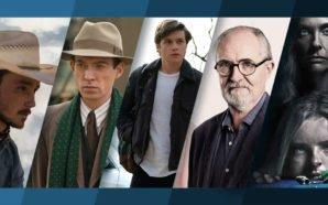 Collage von Postern aus The Rider, Goodbye Christopher Robin, Love, Simon, Vom Ende einer Geschichte, Hereditary