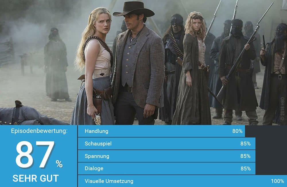 Dolores und Teddy stehen im Fort der Verlorenen Hoffnung Seite an Seite in Westworld Staffel 2 Episode 3