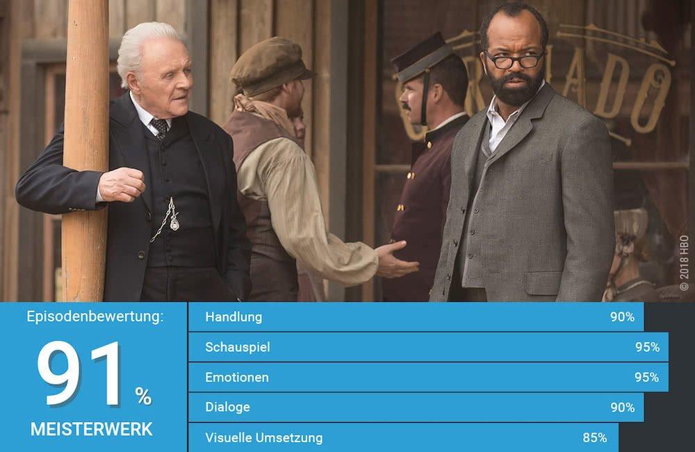 Bernard und Dr Ford unterhalten sich in der Simulation in der Craddle in Westworld Staffel 2 Episode 7